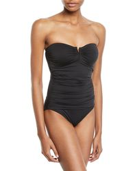 Tommy Bahama - Plus Size Pearl Solids V-wire Shirred Bandeau One-piece Swimsuit - Lyst