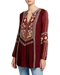Tolani Plus Size Lauren V-neck Long-sleeve Tunic With Floral Embroidery - Red