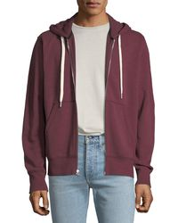 Rag & Bone Men's Trooper Front-zip Jersey Hoodie - Red