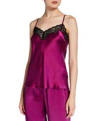 Neiman Marcus Lace-trim Silk Lounge Camisole - Purple