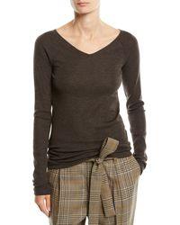 Brunello Cucinelli - V-neck Long-sleeve Wool Jersey Sweater W/ Monili Trim - Lyst