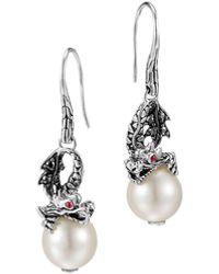 John Hardy Naga Silver Dragon Drop Earrings With Pearl & Black Sapphire - Metallic