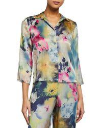 Samantha Chang Classic Printed Cropped Pajama Shirt - Multicolor