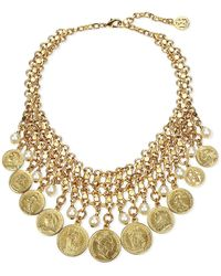 Ben-Amun - Coin & Pearly Bib Necklace - Lyst