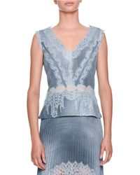 Ermanno Scervino - Sleeveless V-neck Chambray Blouse With Lace Insets - Lyst