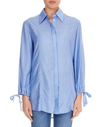 Victoria, Victoria Beckham - Button-front Drawstring-sleeve Shirt - Lyst
