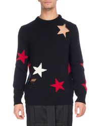 Givenchy - Star Cutout & Intarsia Wool Crewneck Sweater - Lyst