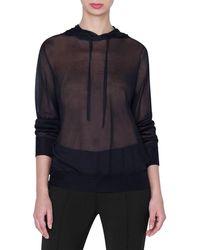 Akris Silk Crepe Hooded Top - Black