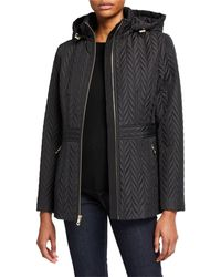 Kate Spade Quilted Chevron Funnel-neck Midi Jacket - Black