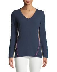 Neiman Marcus - Ruffle-trim Cashmere V-neck Sweater - Lyst
