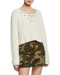 aa6cf3bc8e Kendall + Kylie - Cropped Lace-up Cotton Sweater - Lyst