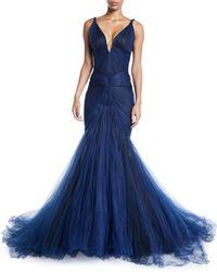 Zac Posen - Plunging Tulle-skirt Mermaid Gown - Lyst