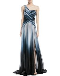 Pamella Roland - Ombré One-shoulder Silk Gown - Lyst