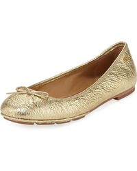 0209594de Tory Burch - Laila 2 Metallic Leather Driver Ballet Flats - Lyst