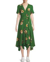 A.L.C. - Cora Floral Silk Wrap Midi Dress - Lyst