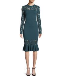 ab6c7ebb1d Lyst - MILLY Textured Leopard Animal-print Mermaid Midi Dress in Black
