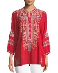Johnny Was Petite Bethanie 3/4-sleeve Embroidered Tunic