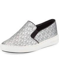 d5689ef073 Lyst - Michael Kors Michael Keaton Bootie High Top Slip On Sneakers ...