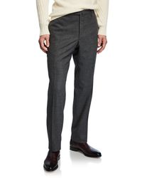 Incotex Men's Pleated Stretch Flannel Pants - Gray