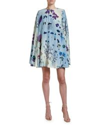Stella McCartney Floral Print Silk Bell-sleeve Mini Dress - Blue