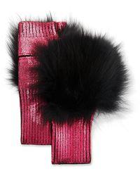 Jocelyn Metallic Fingerless Gloves W/ Fox Fur Trim - Pink
