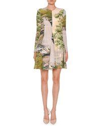 Stella McCartney - Long-sleeve Landscape-print Swing Dress - Lyst