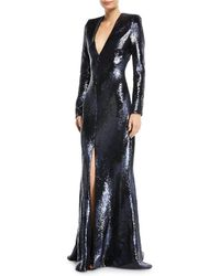 Rubin Singer - Plunging Long-sleeve Fitted Sequined Evening Gown - Lyst