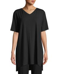 Eileen Fisher - Short-sleeve V-neck Jersey Tunic - Lyst