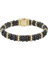 Lagos - 9mm 18k Gold & Black Caviar Bracelet - Lyst