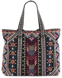 Johnny Was Nemita Embroidered Everyday Cotton Canvas Tote Bag - Black