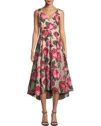 Lela Rose - V-neck Sleeveless Rose Fil Coupe Dress - Lyst