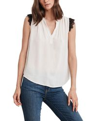 6300fd1797054d Velvet - V-neck Sleeveless Top With Lace Trim - Lyst