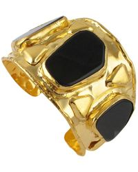 Devon Leigh Black Agate Gold Cuff - Metallic