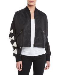 Valentino - Bow-sleeve Zip-front Nylon Cropped Jacket - Lyst
