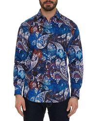Robert Graham Men's Mayar Multicolour Sport Shirt - Blue