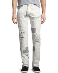 Mostly Heard Rarely Seen - Shredded Patchwork Straight-leg Jeans - Lyst