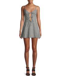 Lovers + Friends - Beth Gingham-print Tie-front Mini Dress - Lyst