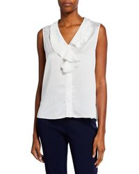 Misook - V-neck Ruffle Waterfall Sleeveless Crepe De Chine Blouse - Lyst