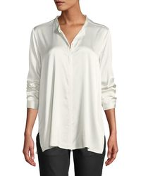 Eileen Fisher - Silk Charmeuse Mandarin-collar Shirt - Lyst