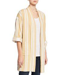 Eileen Fisher Striped Organic Cotton Kimono Jacket - Natural
