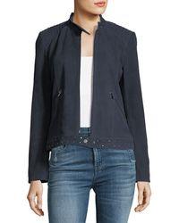Neiman Marcus - Studded-trim Suede Jacket - Lyst