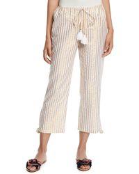 Figue Goa Metallic-striped Cropped Easy Pants - White