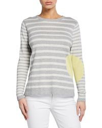 Lisa Todd Petite Striped Dot Long-sleeve Cotton Sweater - Gray