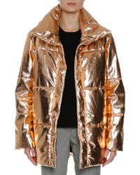 MSGM | Metallic Quilted Puffer Coat | Lyst
