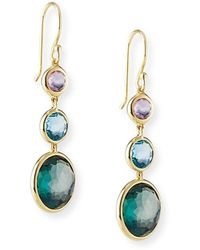 Ippolita 18k Lollipop® Three-stone Drop Earrings In Pacific - Green