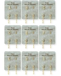 Tai Ceramic Letter Earring Set - White
