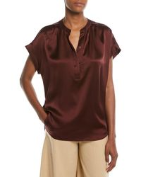 Vince - Silk Shirred-neck Cap-sleeve Blouse - Lyst