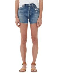 Citizens of Humanity Nikki Patchwork Raw Shorts - Blue