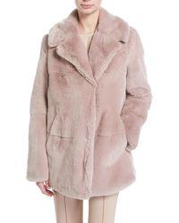 A.L.C. | Stone Notched-collar Long-sleeve Rabbit Fur Coat | Lyst