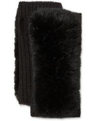 Yves Salomon Cashmere Knitted Gloves W/ Fox Fur Trim - Black